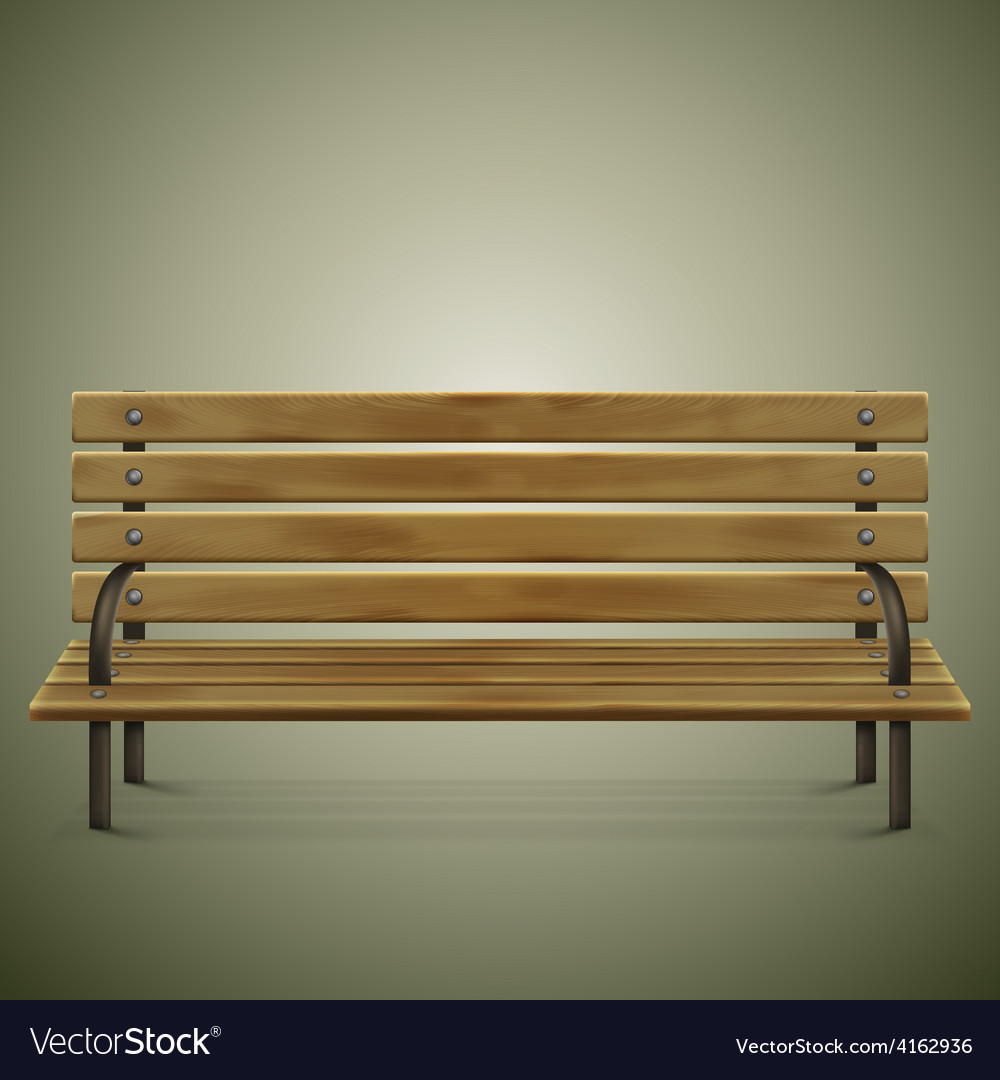 Wooden detailed bench on green vector | Price: 3 Credit (USD $3)