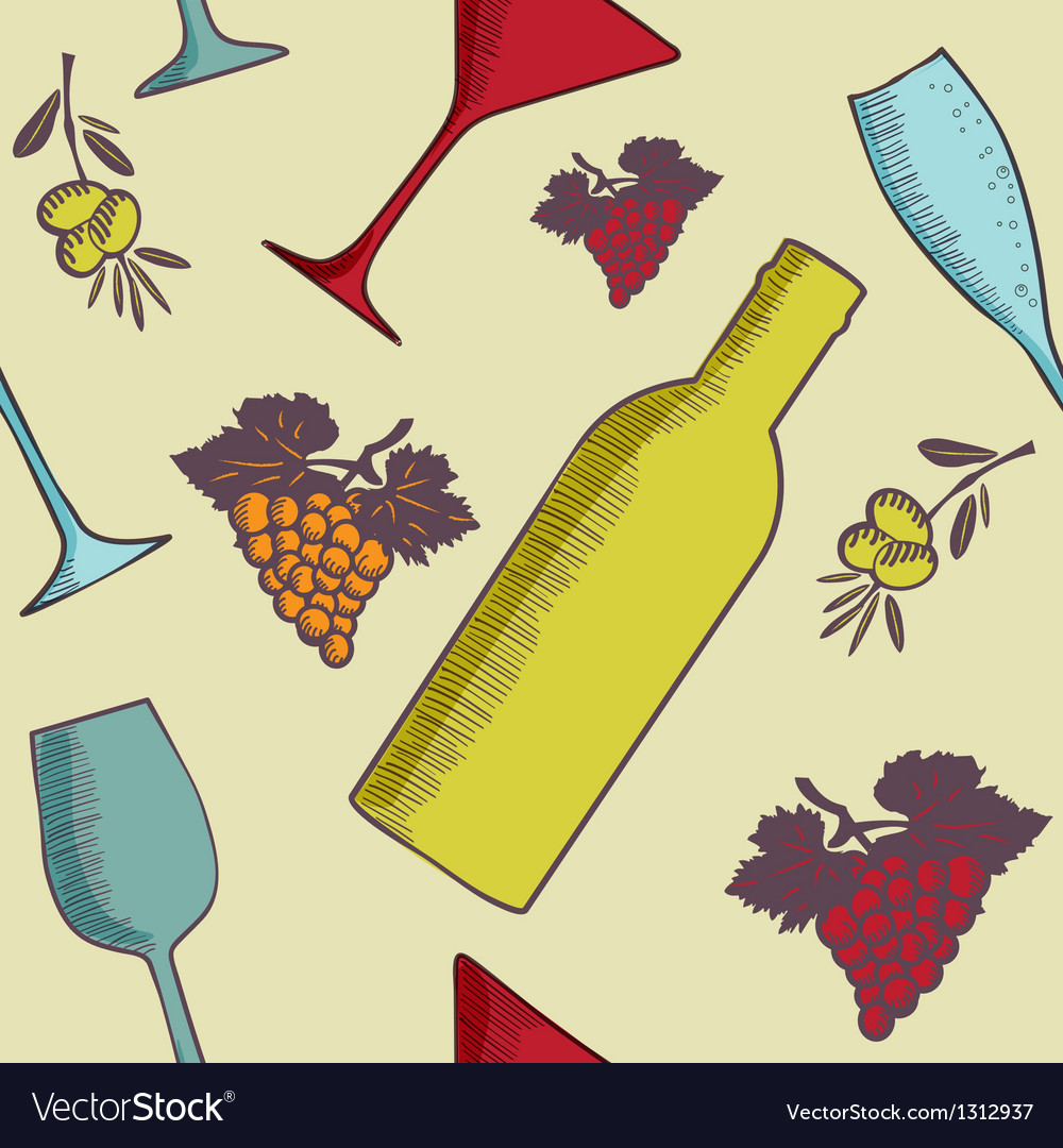 Background with wine bottles and glasses vector | Price: 1 Credit (USD $1)