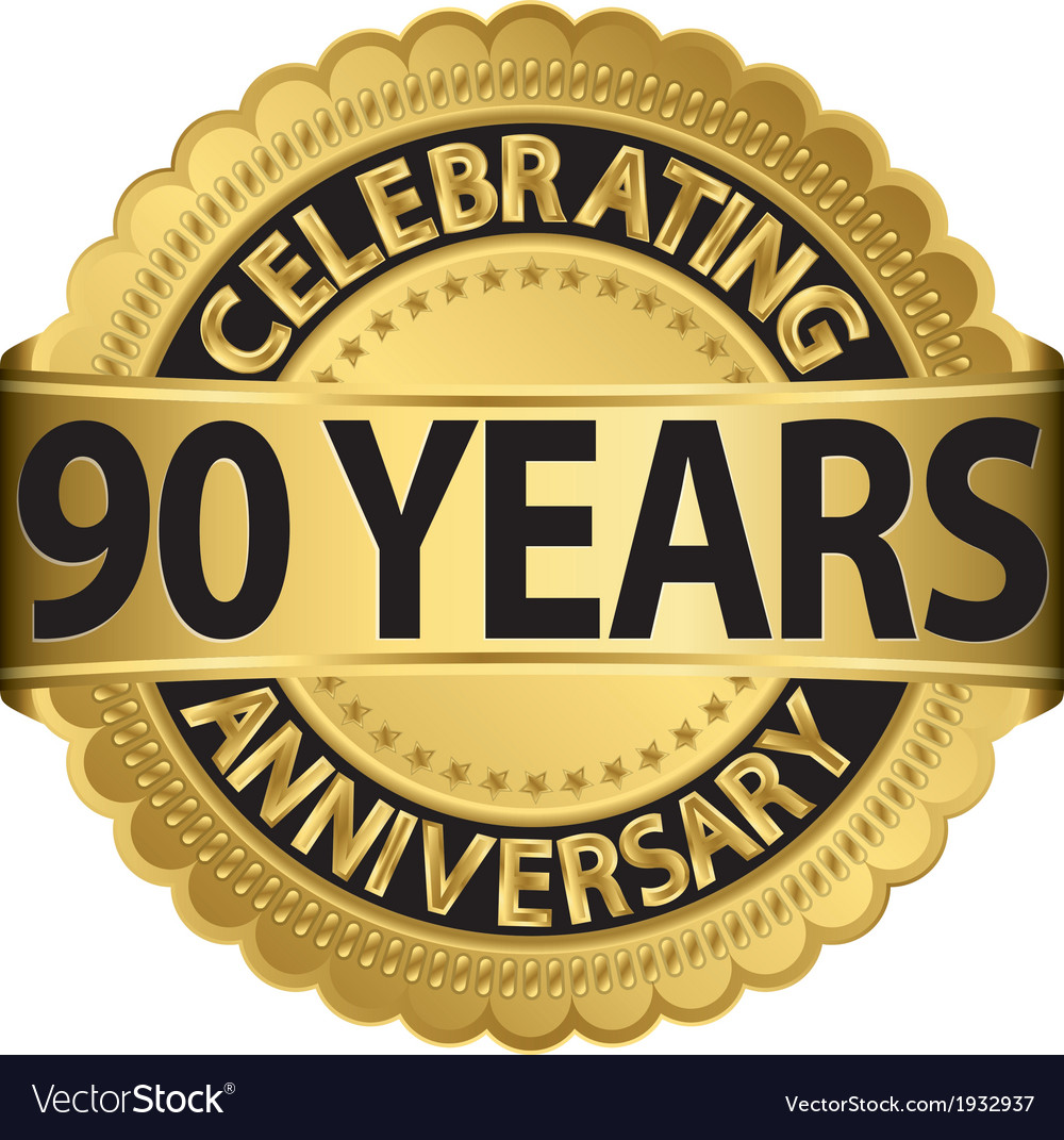Celebrating 90 years anniversary golden label with vector | Price: 1 Credit (USD $1)