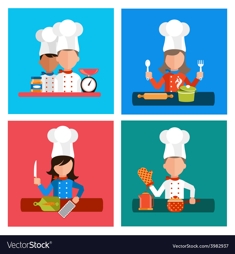 Cooking serve meals and food preparation elements vector | Price: 1 Credit (USD $1)