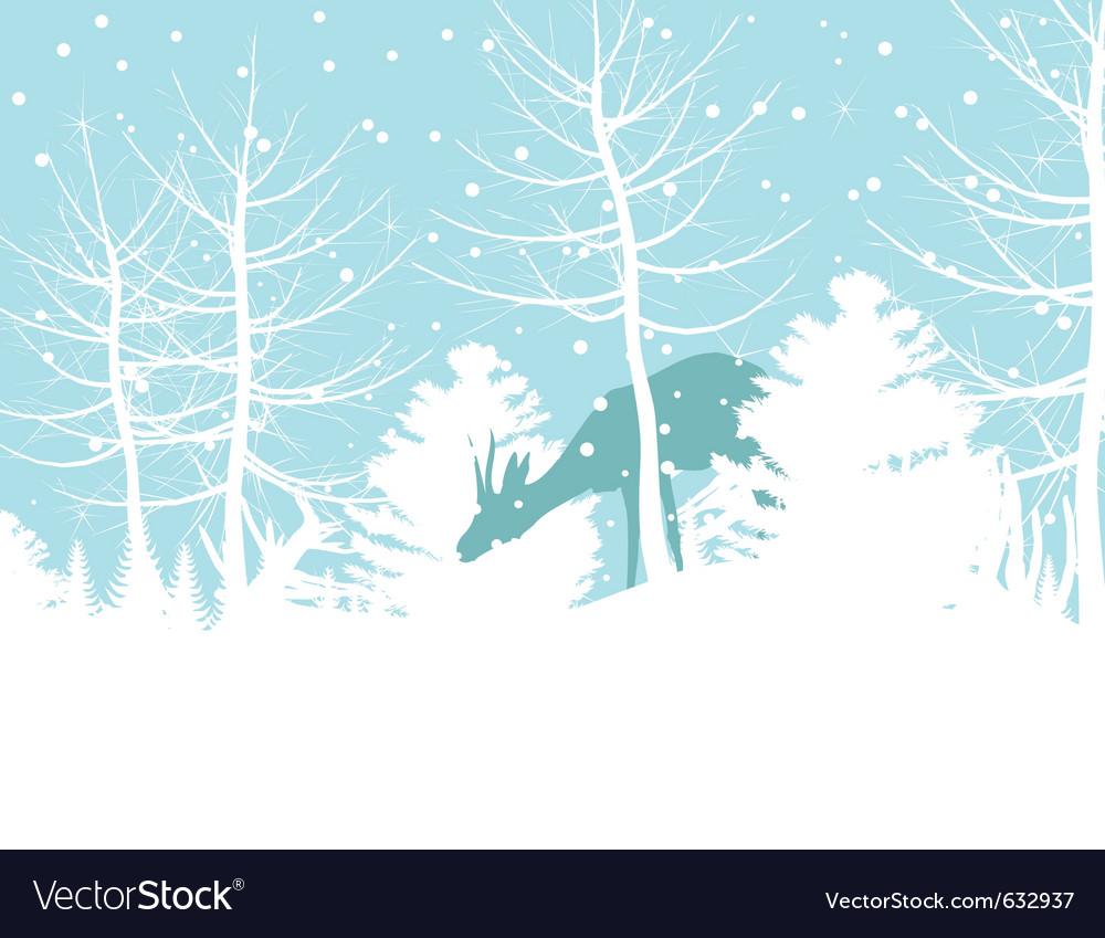 Deer walks in winter wood a vector | Price: 1 Credit (USD $1)