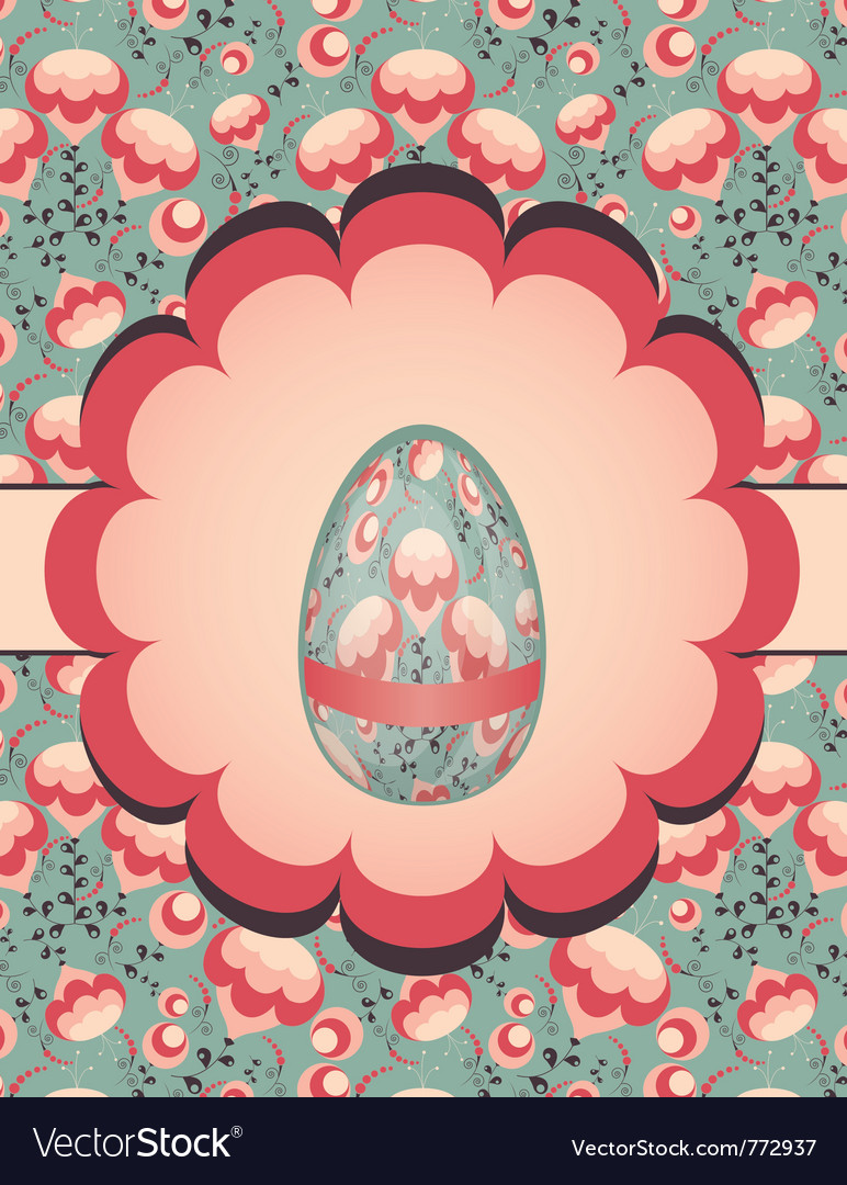 Easter egg on floral pattern vector | Price: 1 Credit (USD $1)
