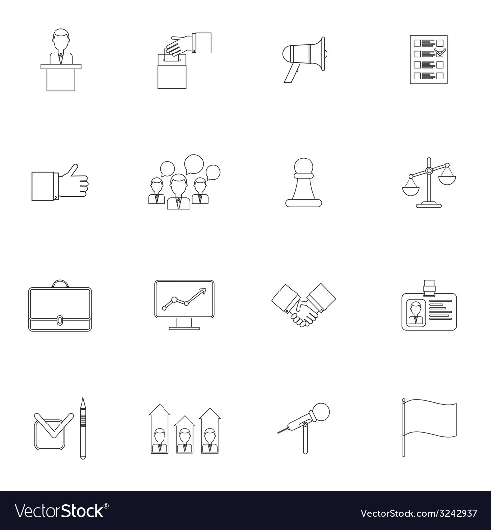 Elections icons set outline vector | Price: 1 Credit (USD $1)