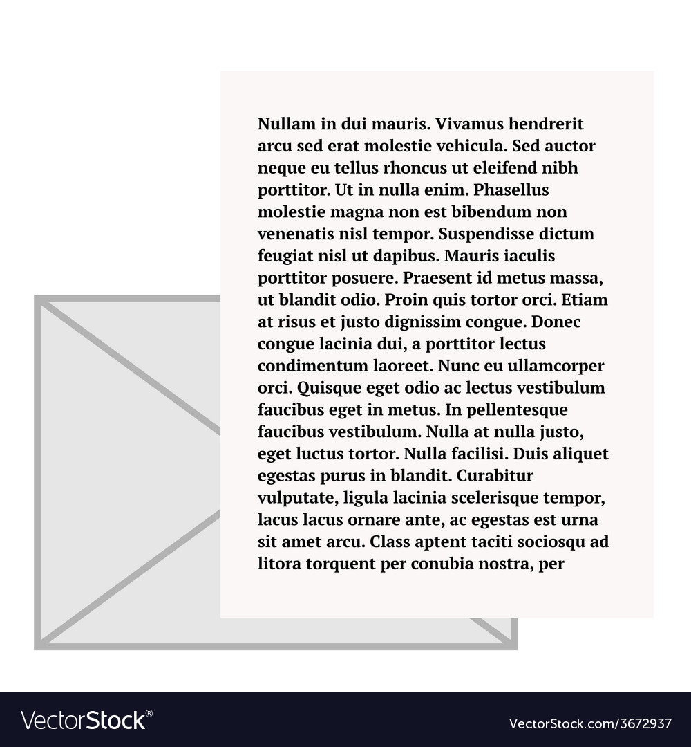Email icon envelope and paper sheet with text vector | Price: 1 Credit (USD $1)