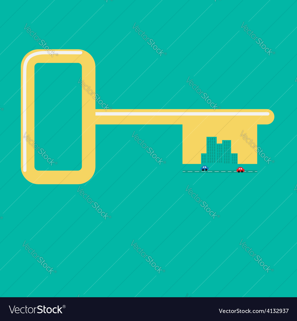Golden key from the city road car skyscraper vector | Price: 1 Credit (USD $1)