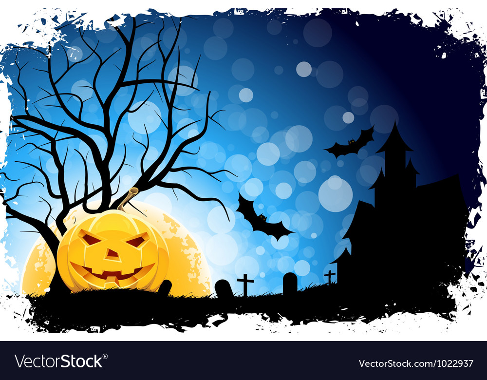 Grungy halloween background with pumpkin vector | Price: 3 Credit (USD $3)