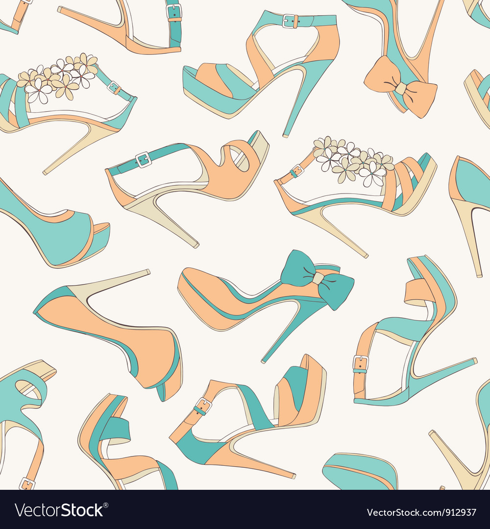 High heels shoes seamless pattern vector | Price: 1 Credit (USD $1)