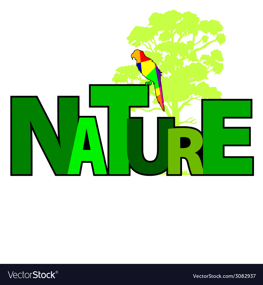 Nature with parrot color vector | Price: 1 Credit (USD $1)