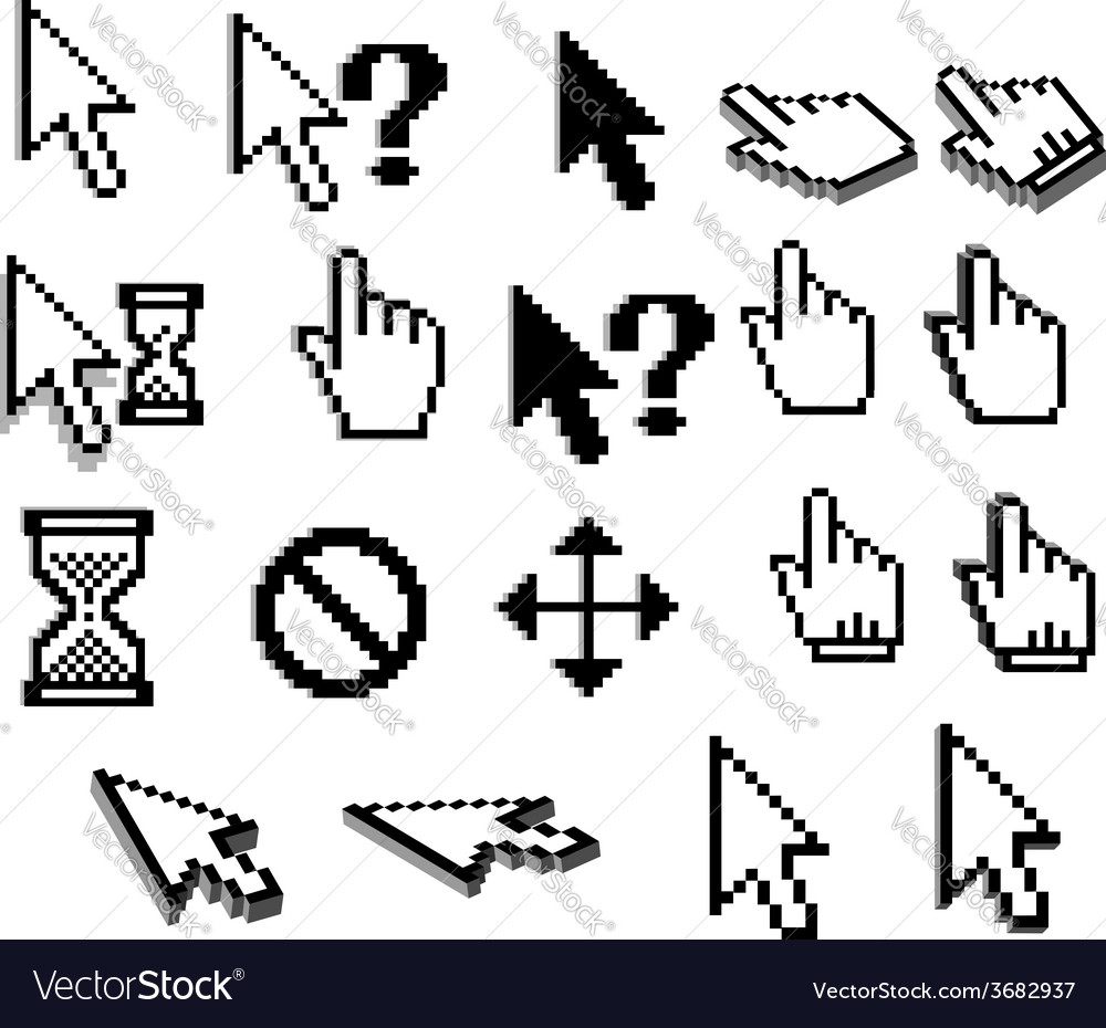 Pixel cursor icons in black and white vector | Price: 1 Credit (USD $1)