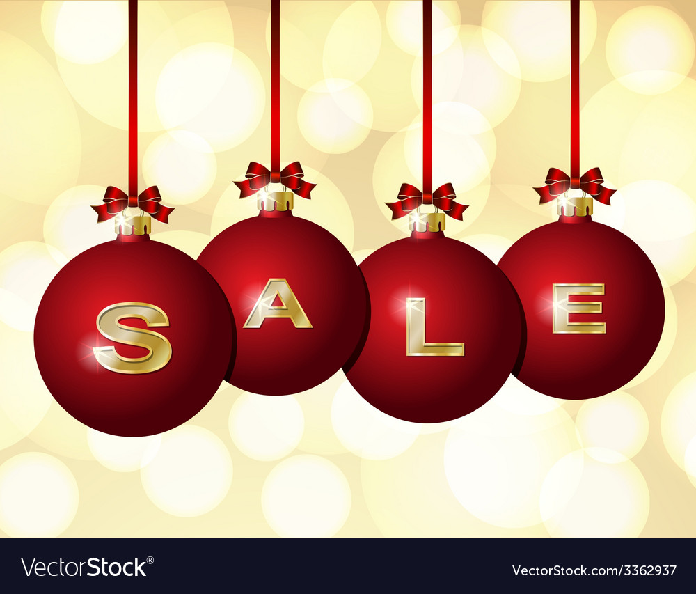 Red christmas balls with golden word sale vector | Price: 1 Credit (USD $1)
