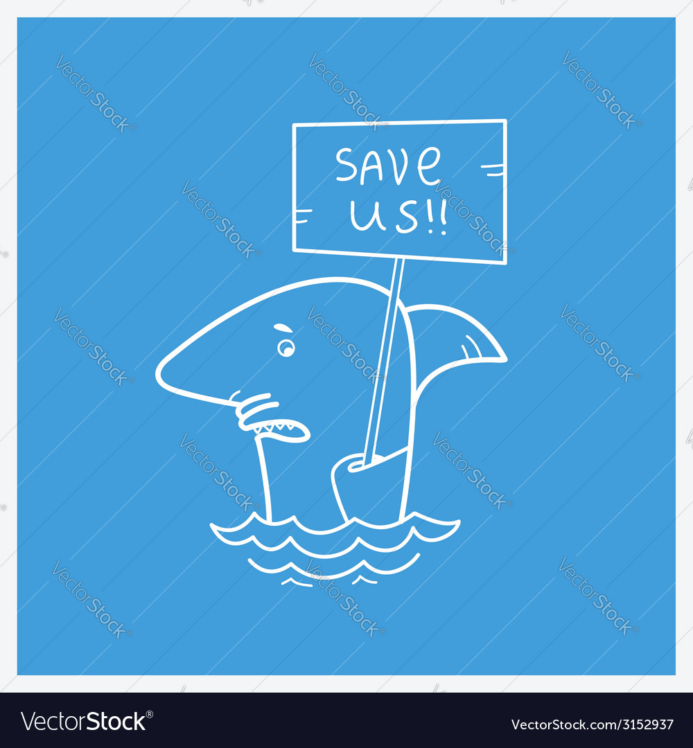 Save sharks card vector | Price: 1 Credit (USD $1)