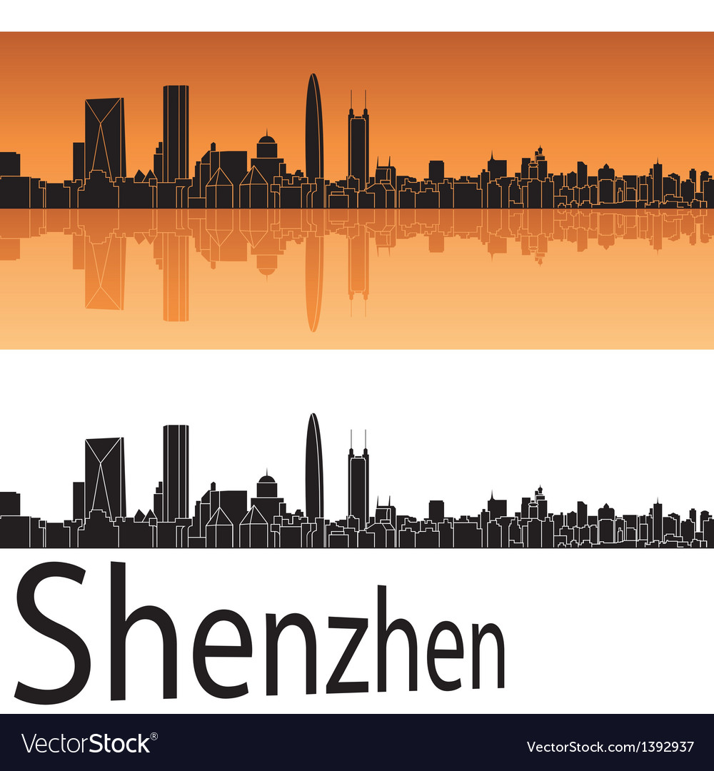 Shenzhen skyline in orange background vector | Price: 1 Credit (USD $1)