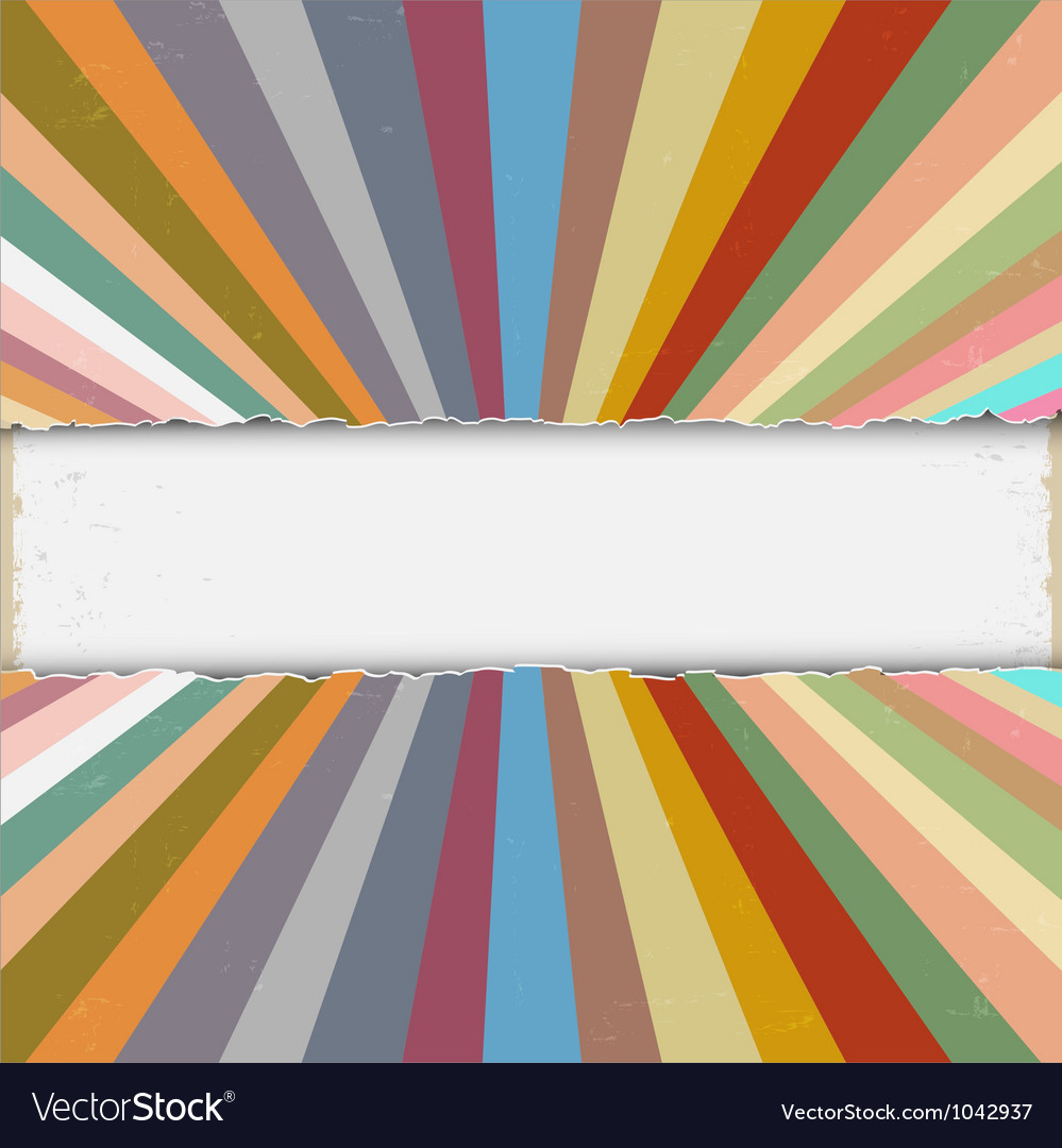Torn paper with colorful retro rays vector | Price: 1 Credit (USD $1)