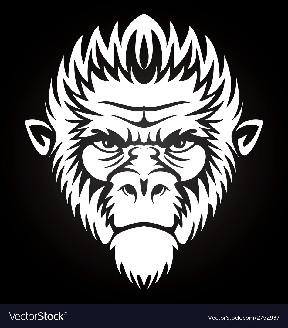 White monkey face vector | Price: 1 Credit (USD $1)