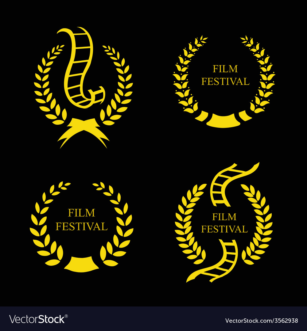 Film festival gold award set vector | Price: 1 Credit (USD $1)