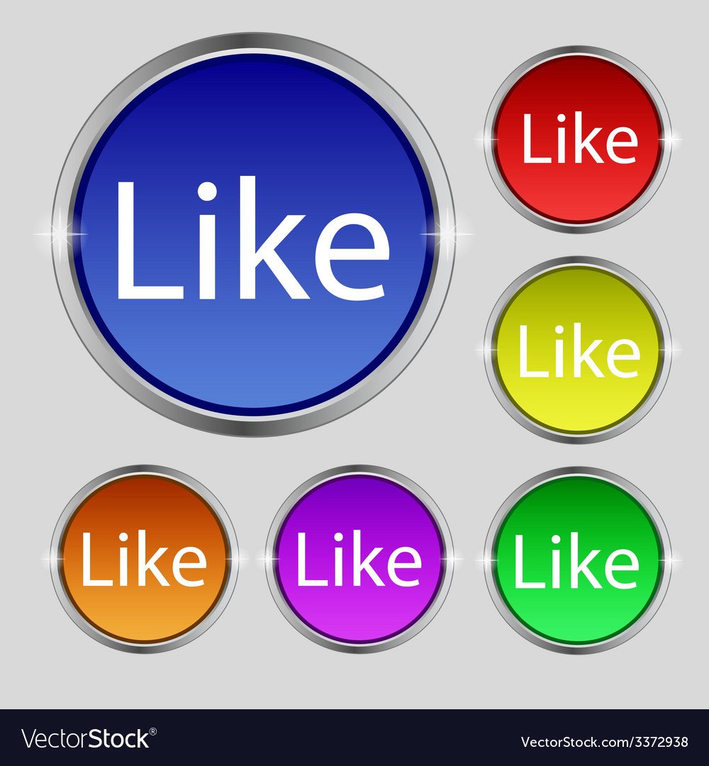 Like sign icon set of colored buttons vector | Price: 1 Credit (USD $1)