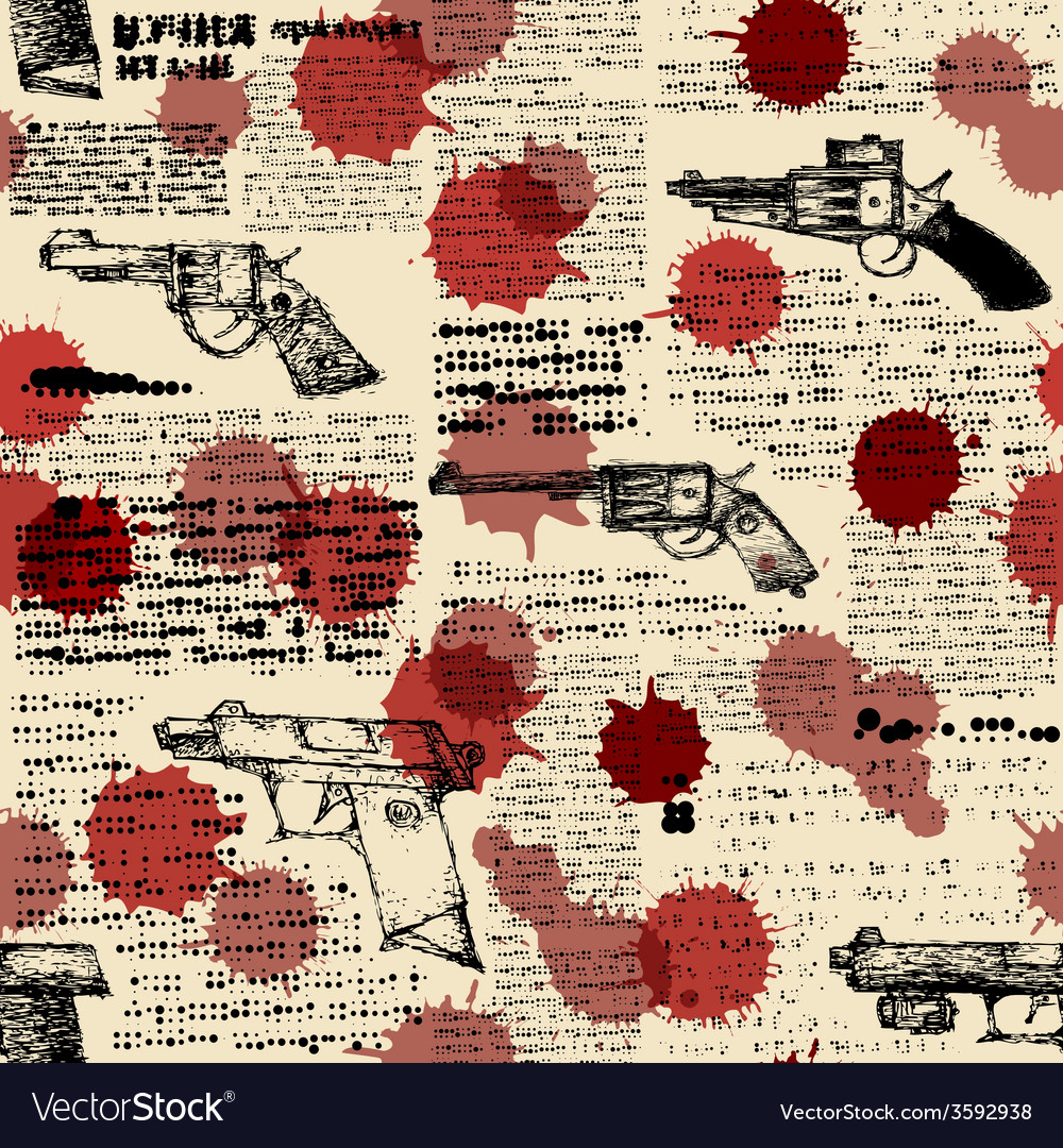 Newspaper with the images of pistols vector | Price: 1 Credit (USD $1)