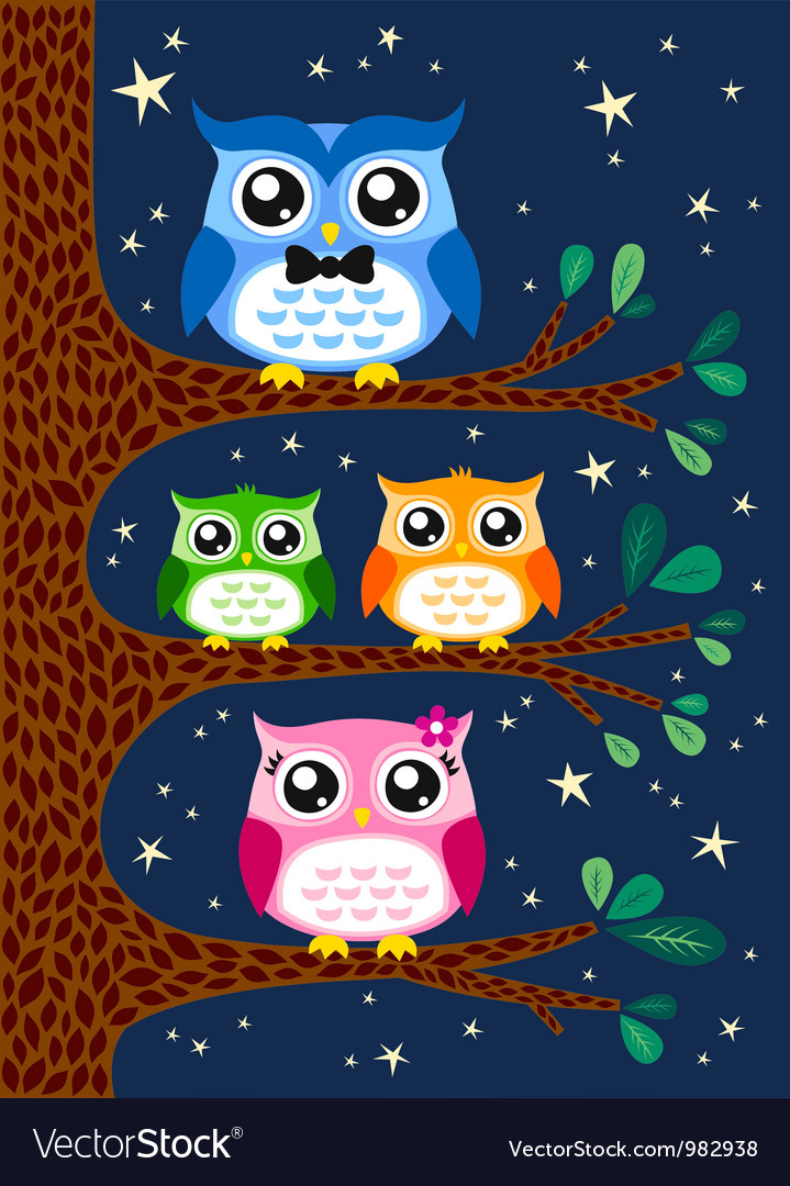 Owl family design vector
