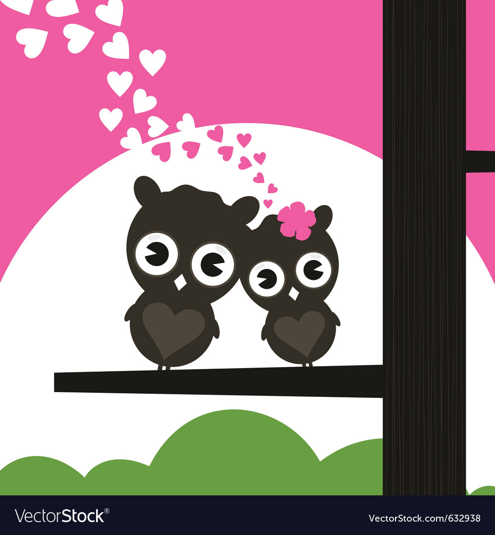 Two owls have fallen in love and sit on a tree a vector | Price: 1 Credit (USD $1)