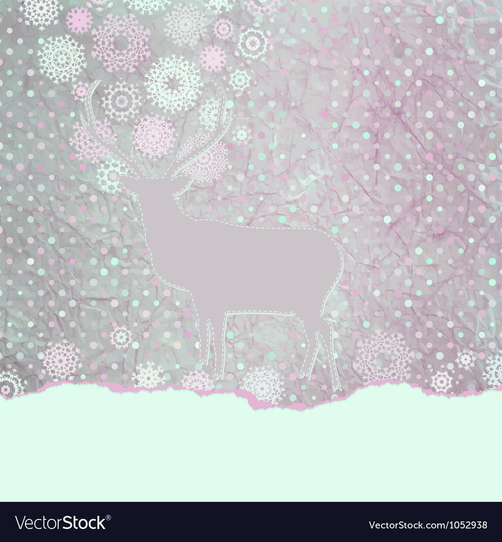 Vintage christmas deer card vector | Price: 1 Credit (USD $1)