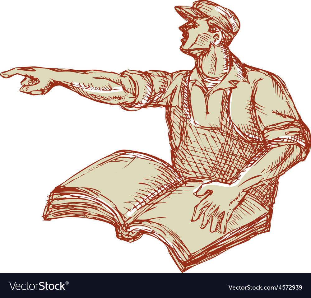 Activist union worker pointing book drawing vector | Price: 1 Credit (USD $1)