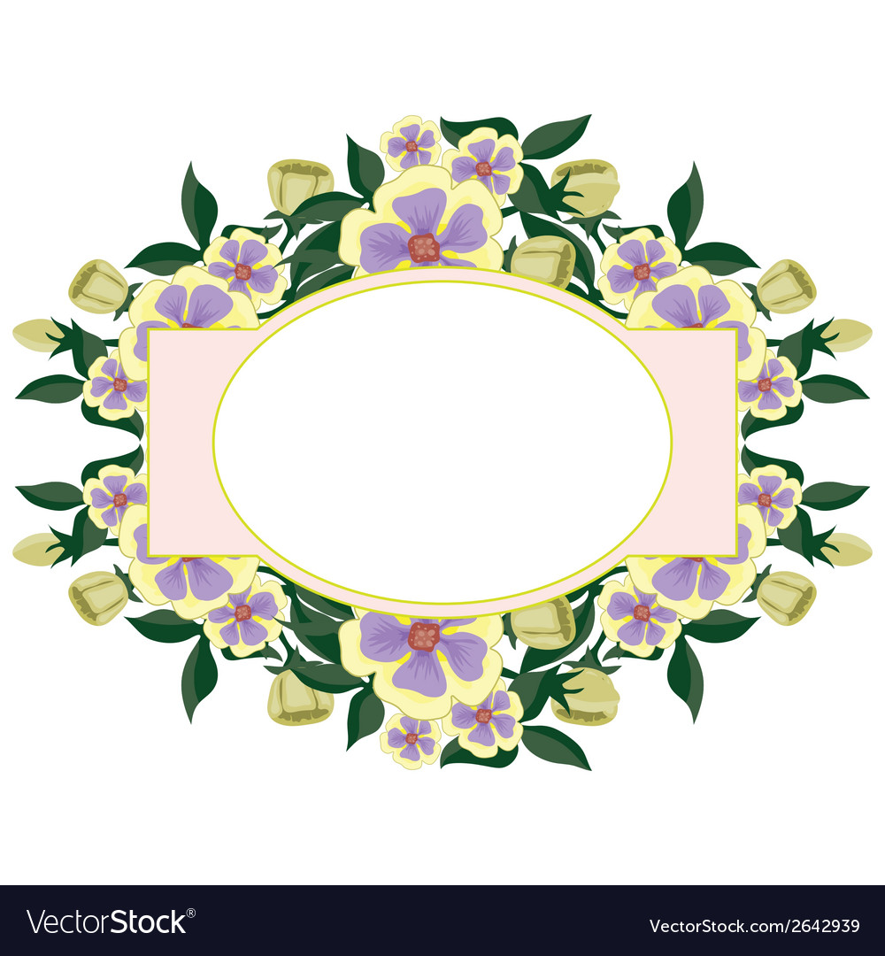 Beautiful floral oval label vector | Price: 1 Credit (USD $1)