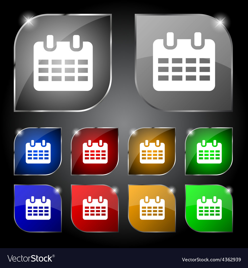 Calendar date or event reminder icon sign set of vector | Price: 1 Credit (USD $1)