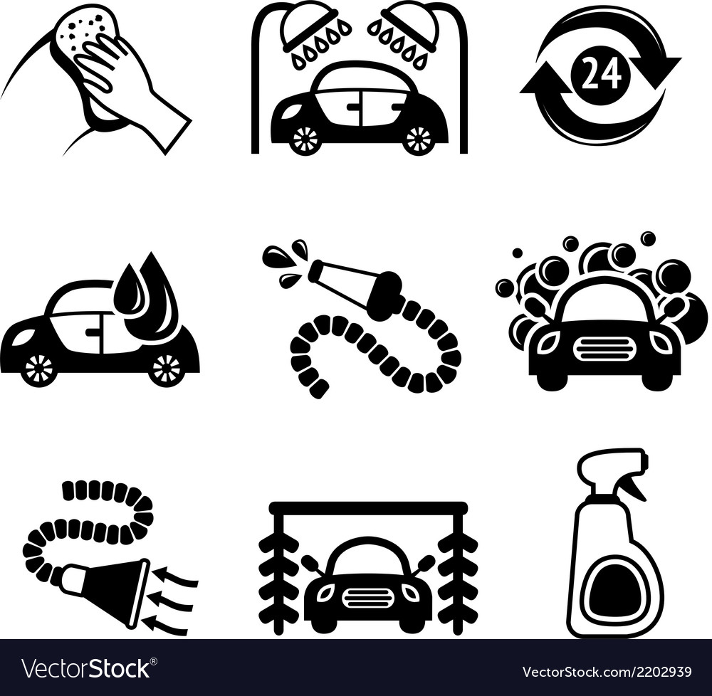 Car wash icons black and white vector | Price: 1 Credit (USD $1)