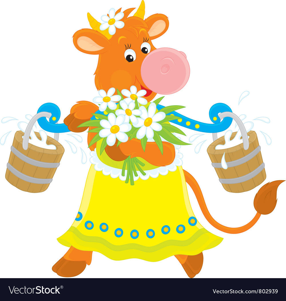 Cow with milk and flowers vector | Price: 1 Credit (USD $1)