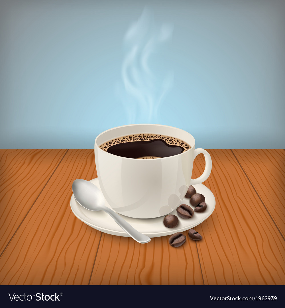 Cup with black classic espresso on the table vector | Price: 1 Credit (USD $1)