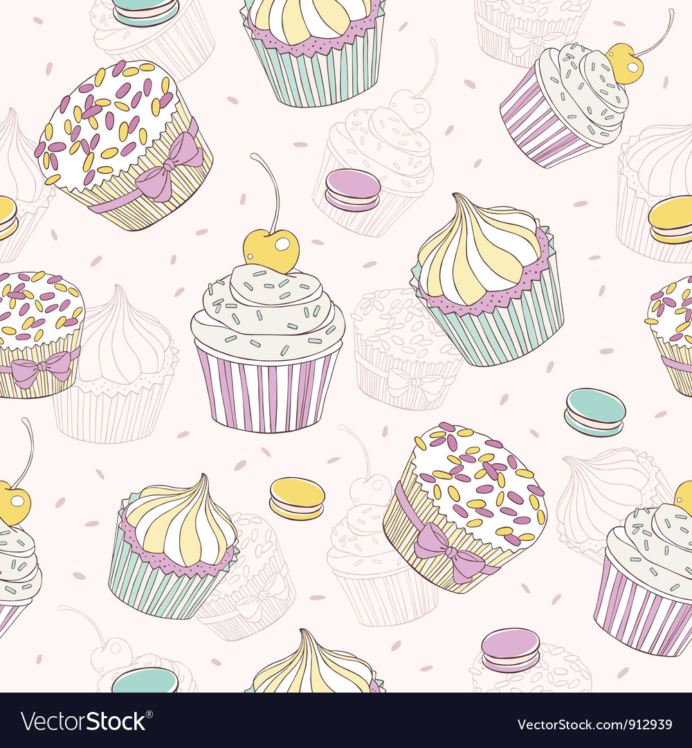 Cupcakes and macaroons seamless pattern vector | Price: 1 Credit (USD $1)