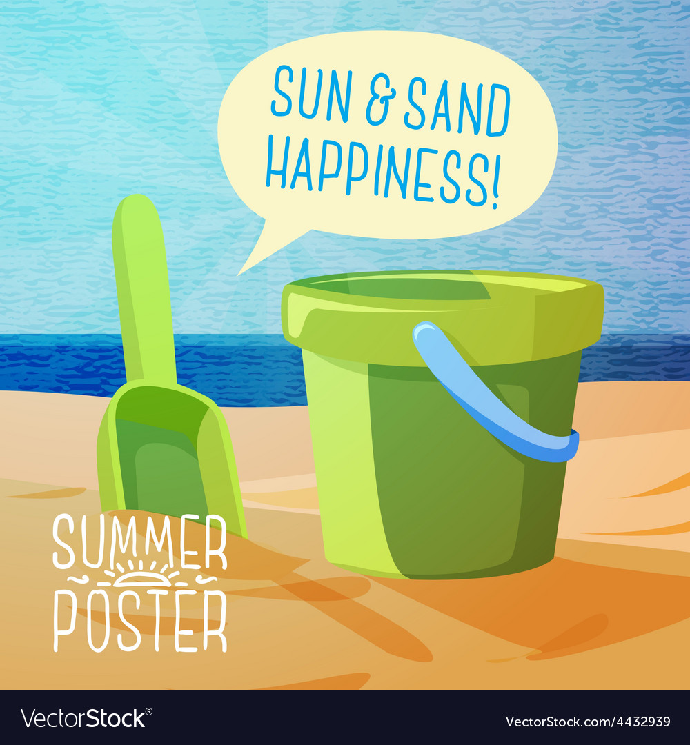 Cute summer poster - sun sand spade and bucket vector | Price: 3 Credit (USD $3)