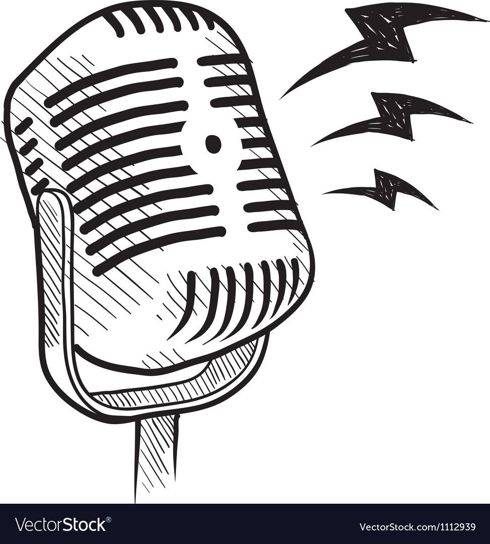 Doodle microphone radio vector | Price: 1 Credit (USD $1)