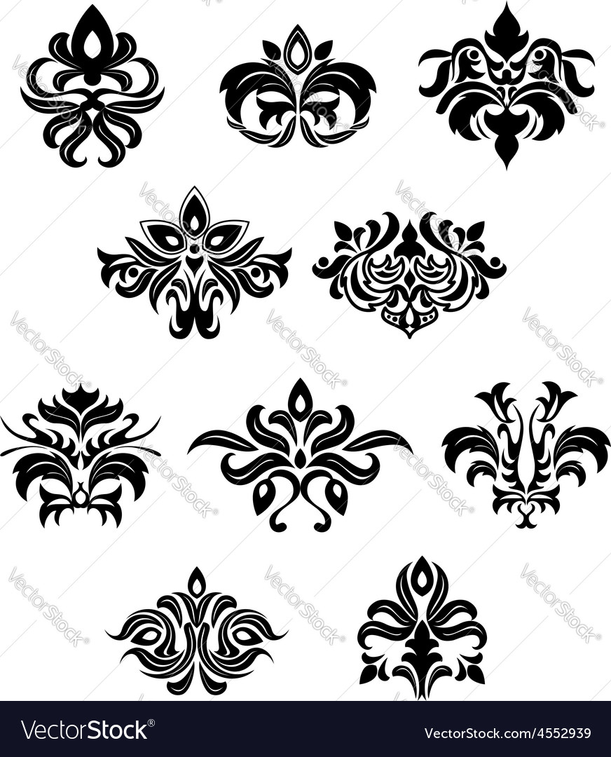 Floral embellishments and design elements vector | Price: 1 Credit (USD $1)