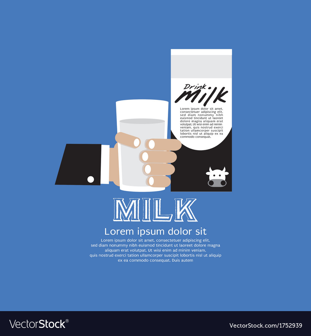 Hand holding a glass of milk vector | Price: 1 Credit (USD $1)