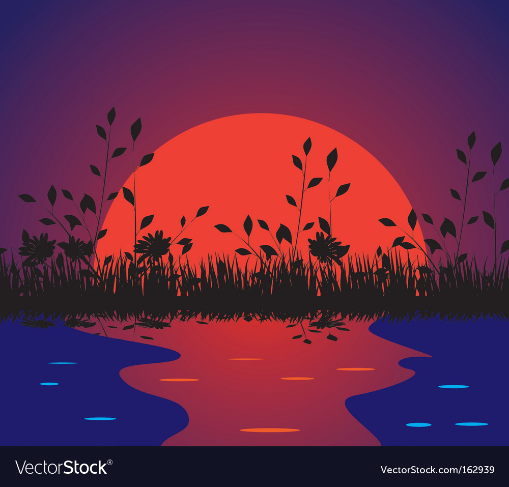 Nature against the setting sun vector | Price: 1 Credit (USD $1)