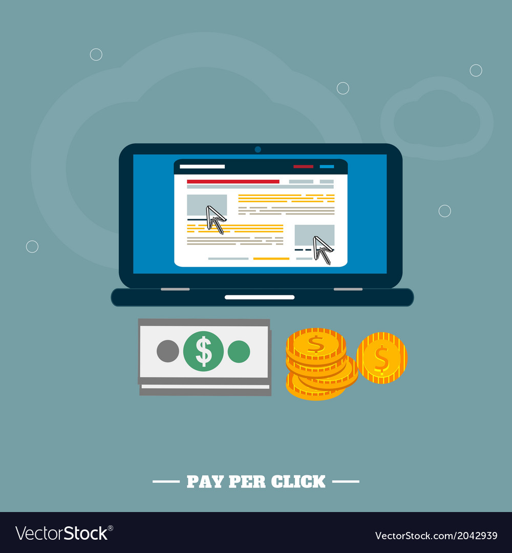 Pay per click internet advertising model when the vector | Price: 1 Credit (USD $1)
