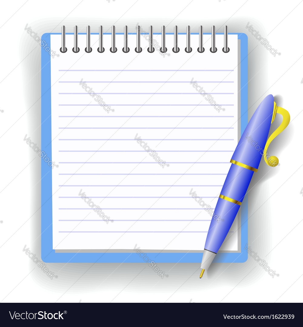 Pen and notepad vector | Price: 1 Credit (USD $1)