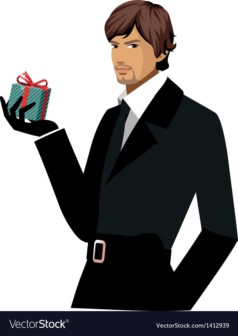 Portrait of man holding gift box vector | Price: 3 Credit (USD $3)