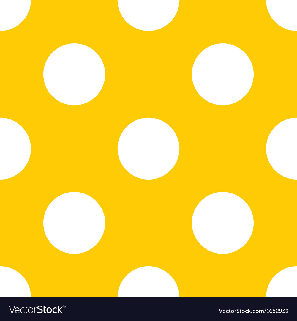 Seamless yellow pattern with white polka dots vector | Price: 1 Credit (USD $1)