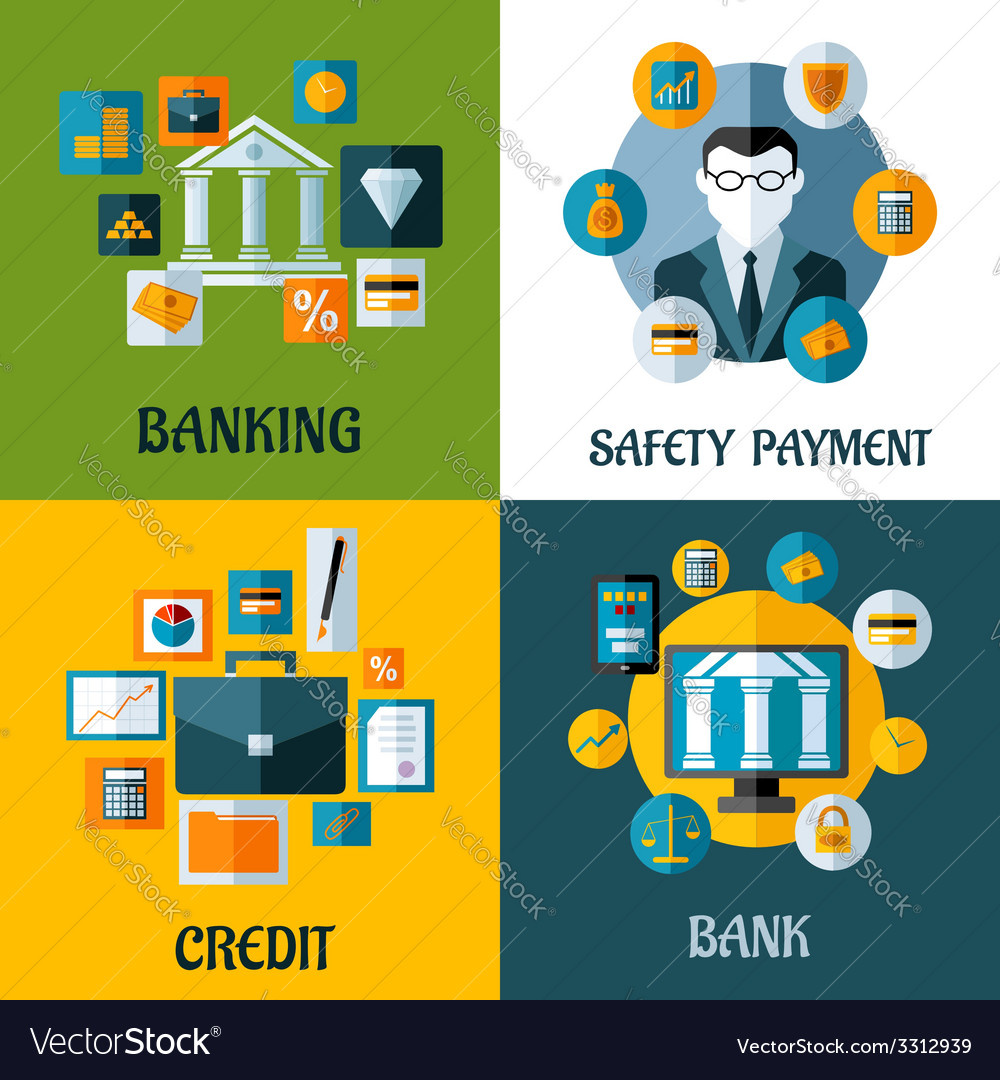 Set of banking and financial flat designs vector | Price: 1 Credit (USD $1)