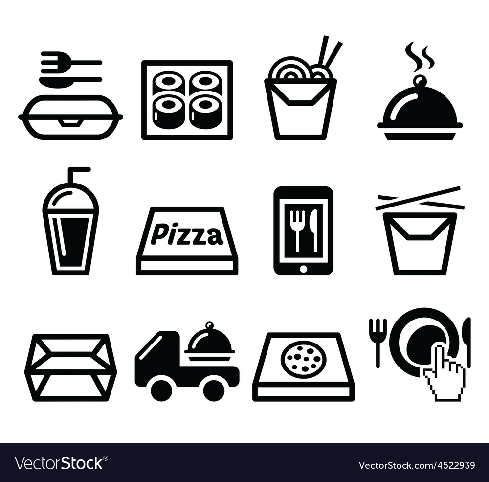 Take away box meal icons set vector | Price: 1 Credit (USD $1)