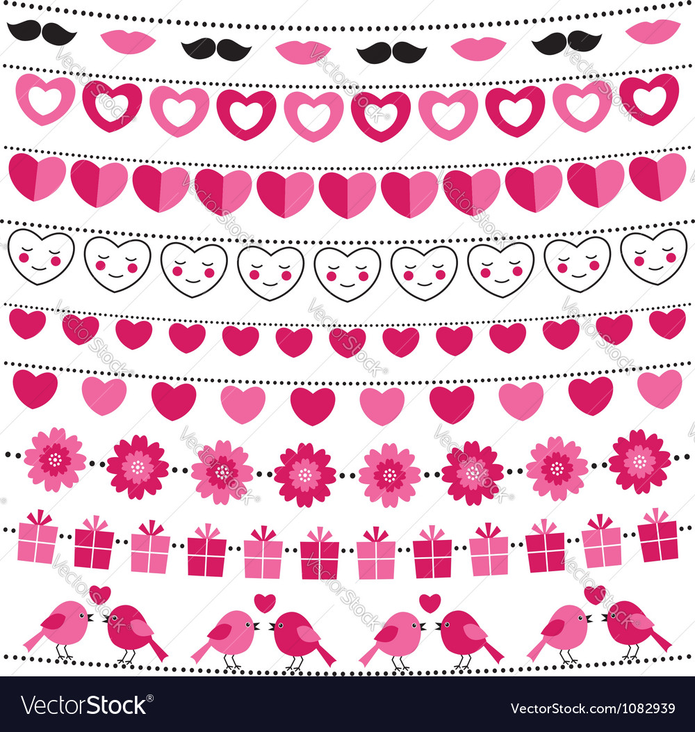 Valentine bunting flags set vector | Price: 1 Credit (USD $1)