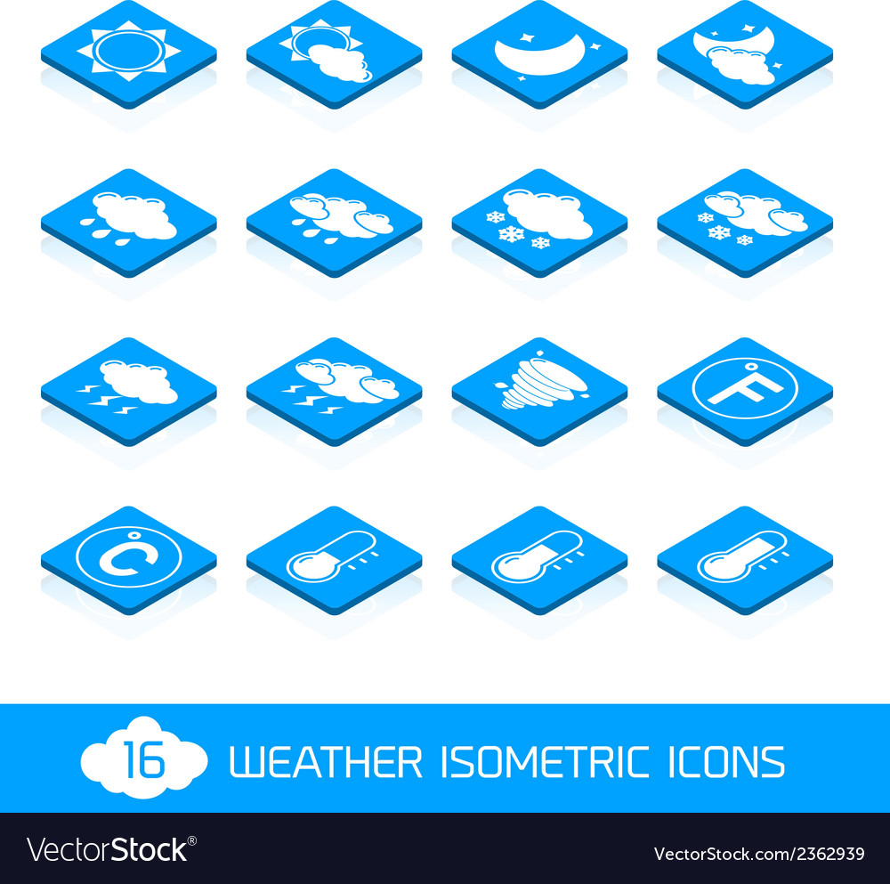 Weather isometric icons white and blue vector | Price: 1 Credit (USD $1)