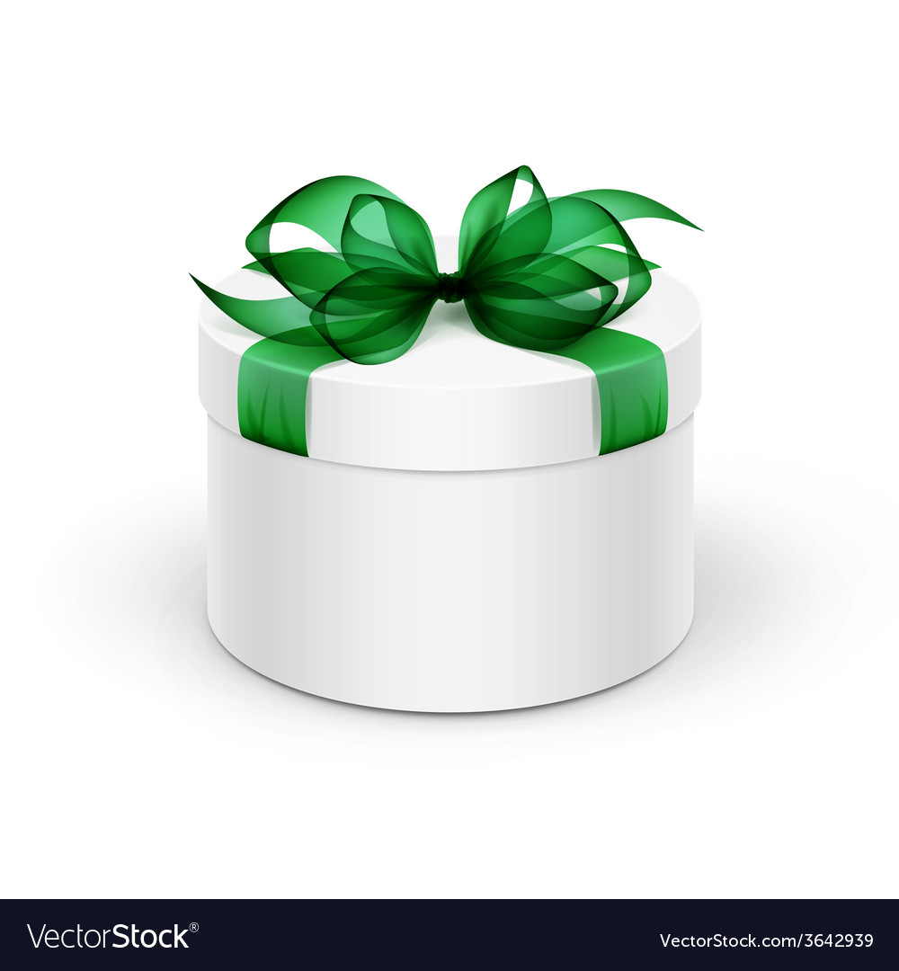 White round gift box with green ribbon and bow vector | Price: 1 Credit (USD $1)