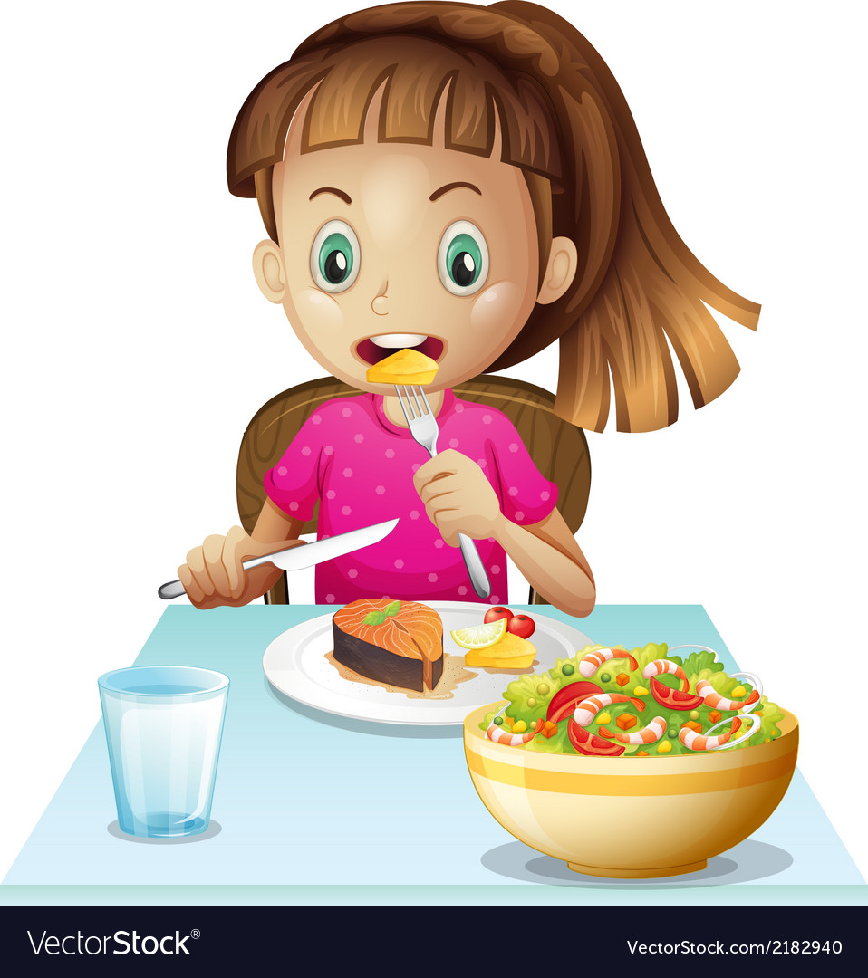 A little girl eating lunch vector | Price: 1 Credit (USD $1)