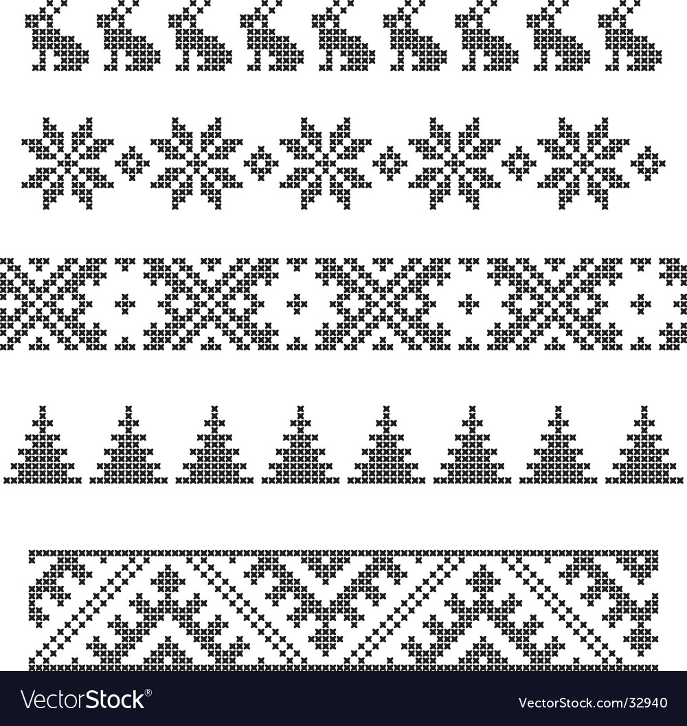 Borders embroidery vector | Price: 1 Credit (USD $1)