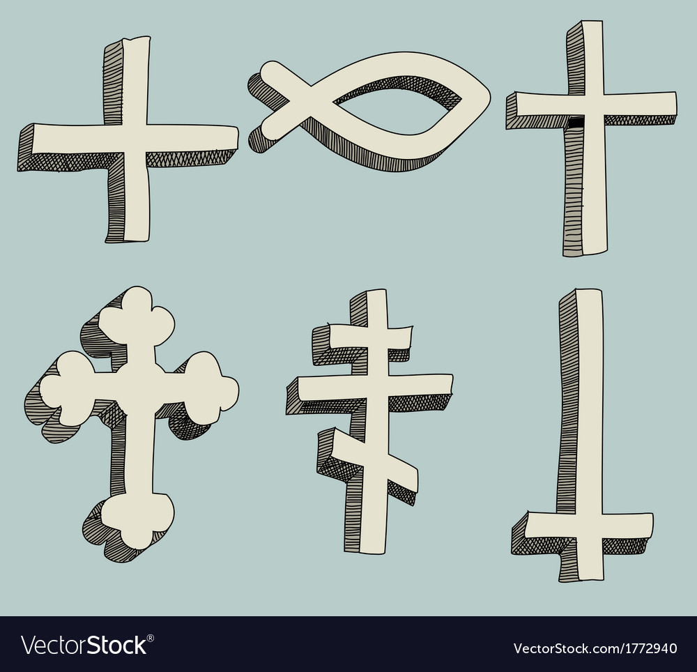 Christianity religious crosses doodle vector | Price: 1 Credit (USD $1)