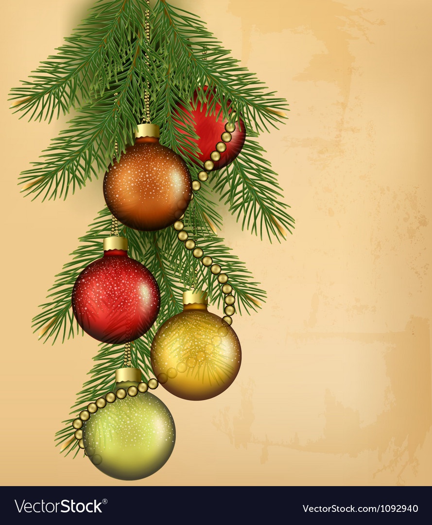 Christmas retro background with balls and fir vector | Price: 1 Credit (USD $1)
