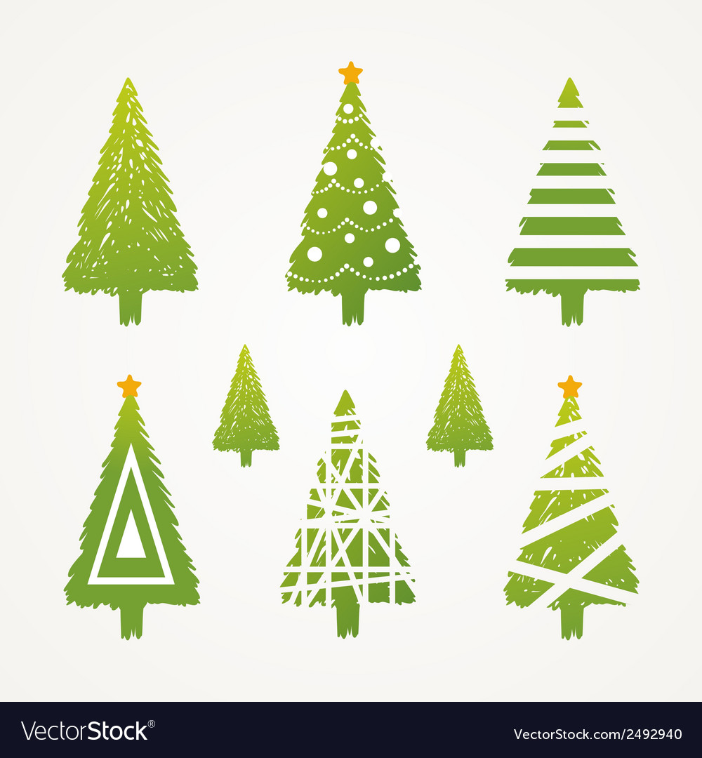 Christmas tree set vector | Price: 1 Credit (USD $1)